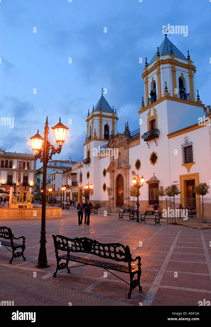 Plaza del Socorro, Ronda, Provinz Malaga, Andalusien, Spanien Stockbild