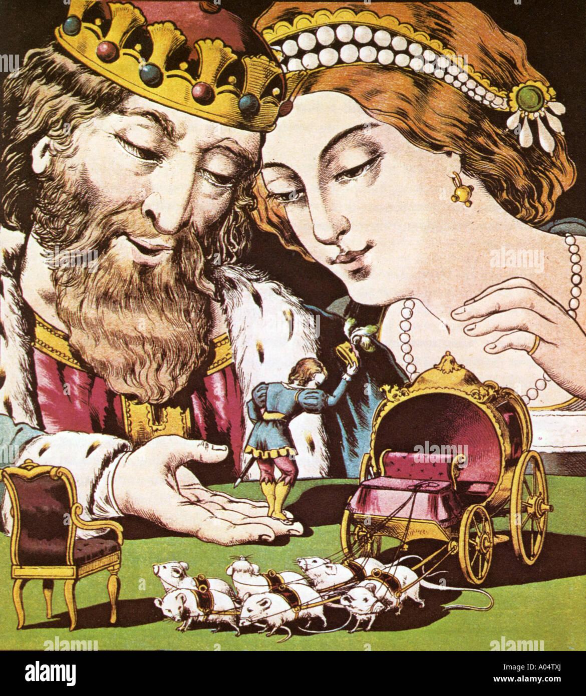 TOM THUMB unterhält, der König und die Königin aus der Geschichte von Tom Thumb veröffentlicht Stockbild