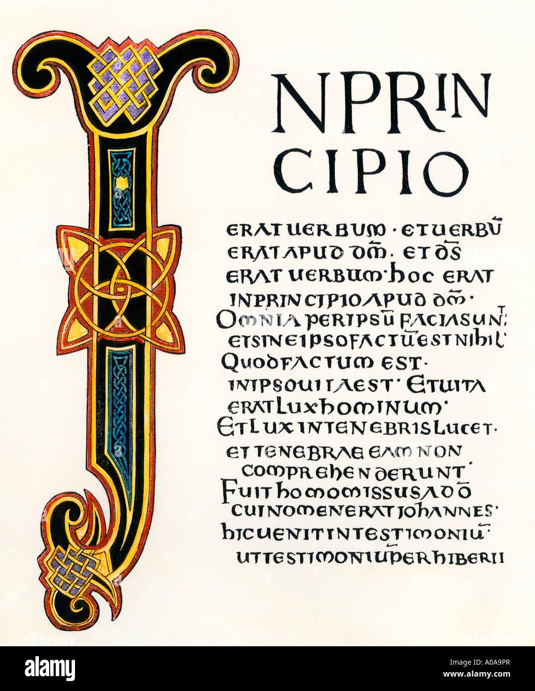 Seite aus den lateinischen Evangelien gegeben durch König Aethelstane, der Kirche von Canterbury 900 s AD Stockbild