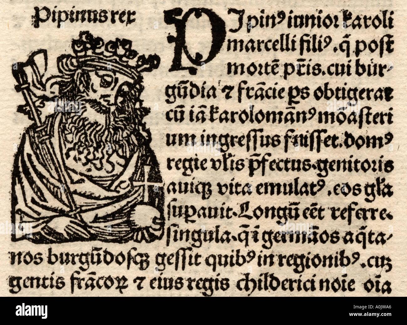 Detail vom original Inkunabel-Blatt in lateinischer Sprache von Hartmut Schedel Liber Chronicorum gedruckt durch Stockbild