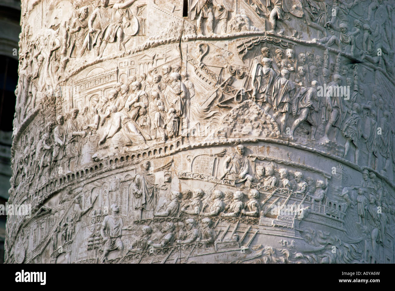 Detail des Trajan s Spalte Rom Latium Italien Europa Stockbild