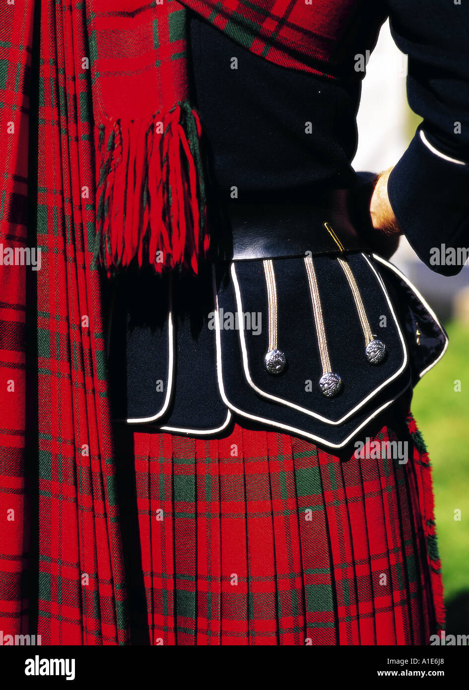 MacDonald Tartan Kilt in Schottland Stockbild
