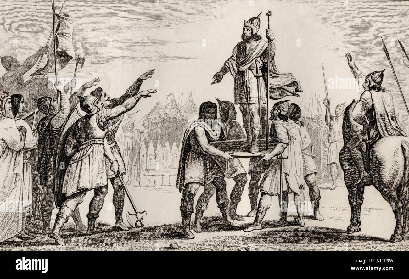 Pharamond c370 c430 legendären König von Frankreich von Histoire de France durch Colart veröffentlicht, Stockbild