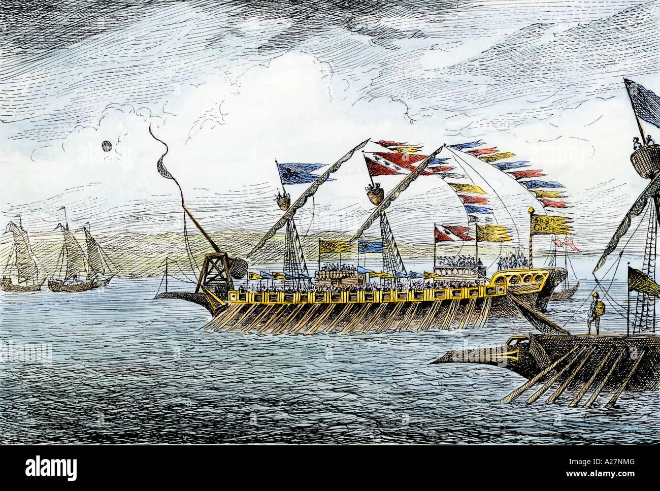 Marco Polo führt die venezianische Schiffe auf Korcula in der Adria Stockbild