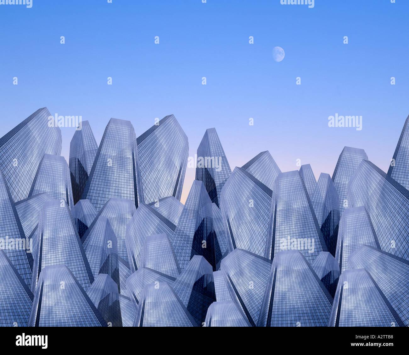 DIGITALE Kunst: Metropolis Stockbild