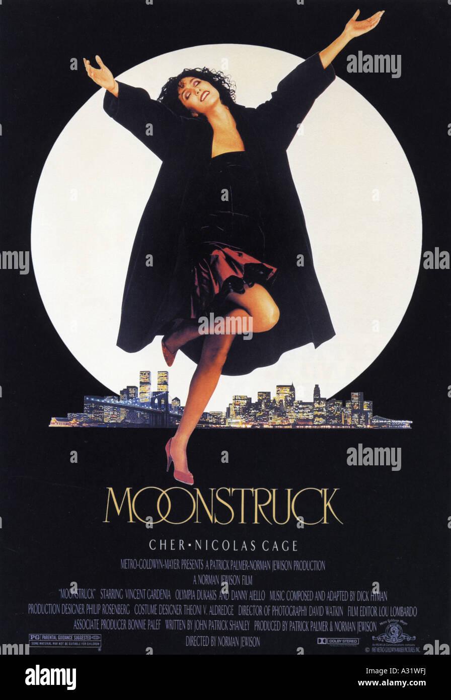 MONDSÜCHTIG Plakat für 1987 Patrick Palmer film mit Cher Stockbild