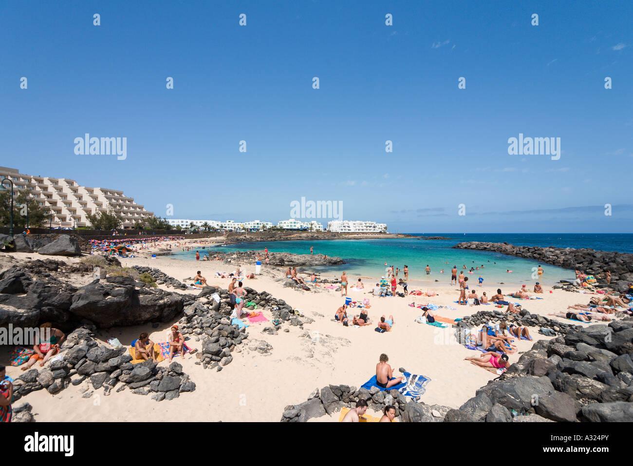 Strand von Playa del Jablillo, Costa Teguise, Lanzarote, Kanarische Inseln, Spanien Stockbild