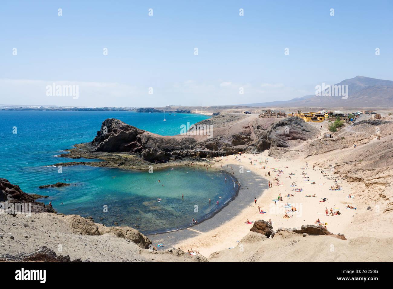 Playa de Papagayo, in der Nähe von Playa Blanca, Lanzarote, Kanarische Inseln, Spanien Stockbild