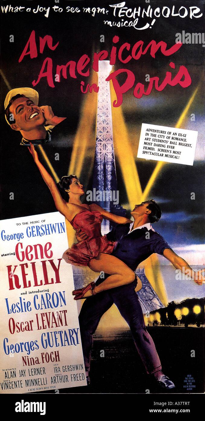 EIN Amerikaner IN PARIS Poster für 1951 MGM musikalischen mit Gene Kelly Stockbild