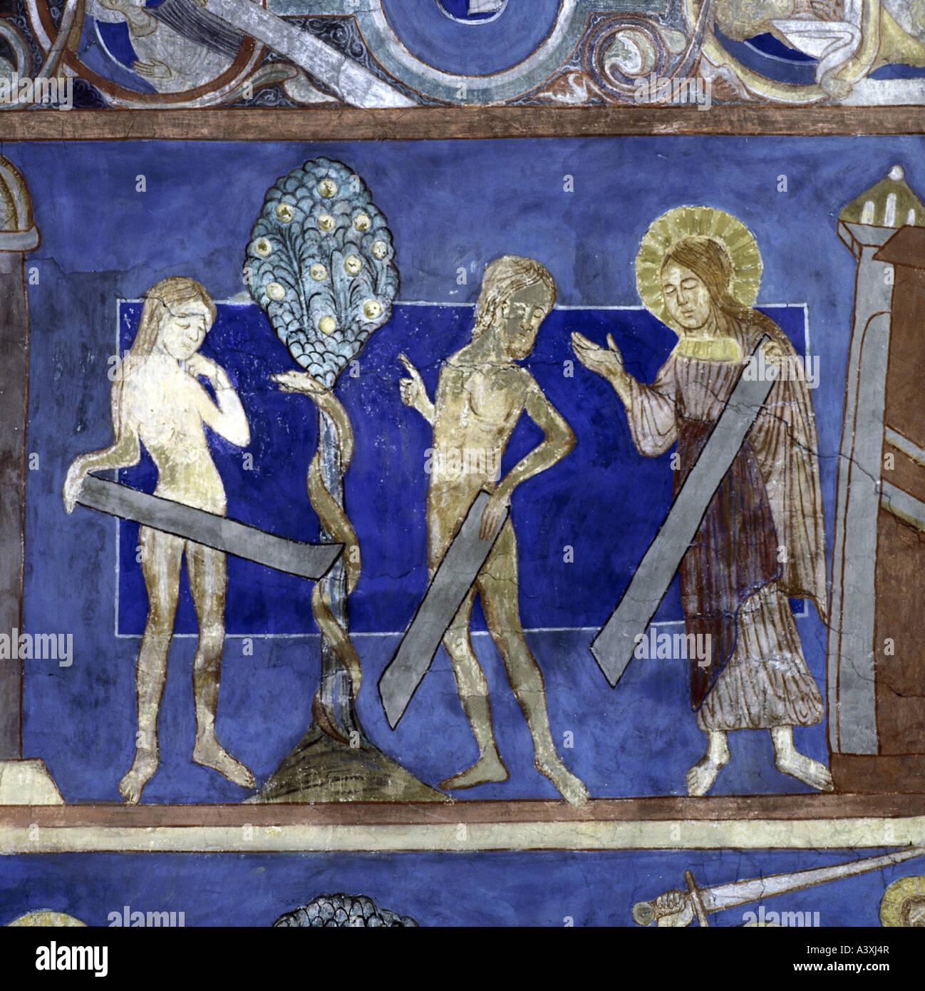 Bildende Kunst, religiöse Kunst, Adam und Eva, Fall der Männer, Malerei, Fresko, 13. Jahrhundert Kirche von Bjäresjö, Stockfoto