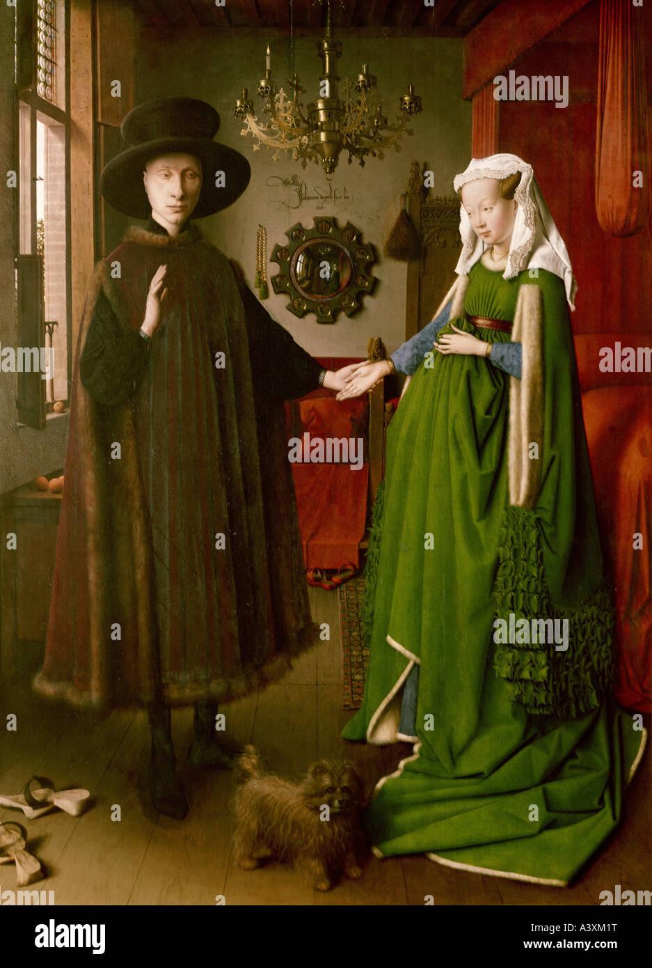 """""""Fine Arts, Eyck, Jan van (ca. 1390-1441), Malerei,""""Die Arnolfini-Hochzeit"""", 1434, Öl auf Platte, 82 cm x 60 cm, Stockfoto"""