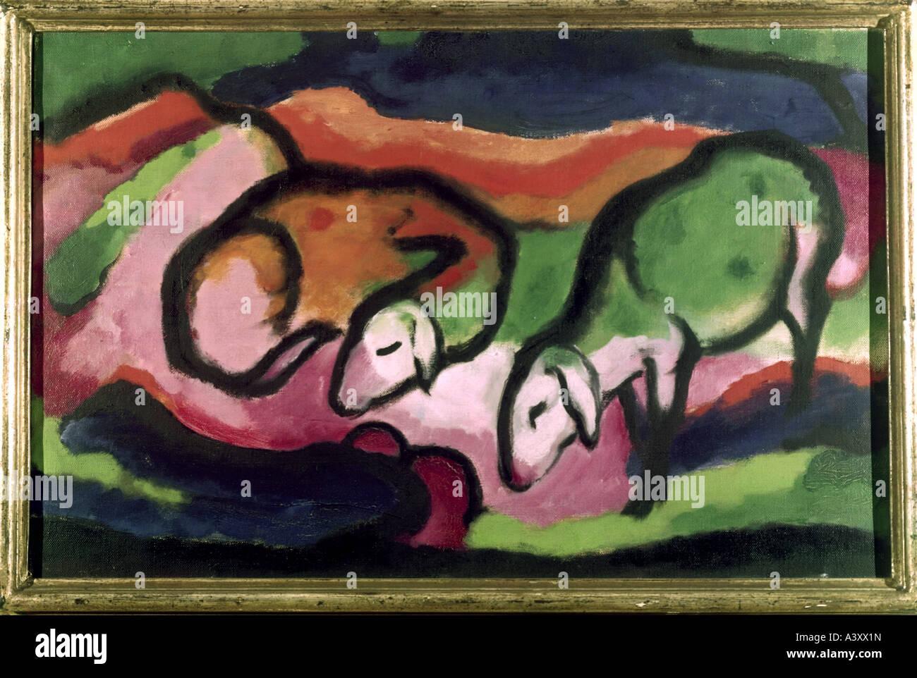"""""""Fine Arts, Marc, Franz, (1880-1916), Malerei,""""Schafe"""",""""Schafe"""", 1912, Öl auf Leinwand, 49,5 cm X 77 cm, Saarland Stockfoto"""