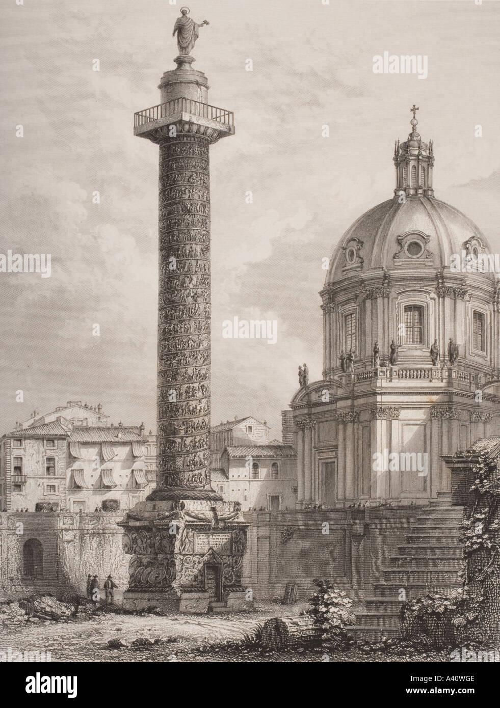 Trajan s Spalte Rom Italien von Piranesi, gestochen von einem Willmore Stockbild