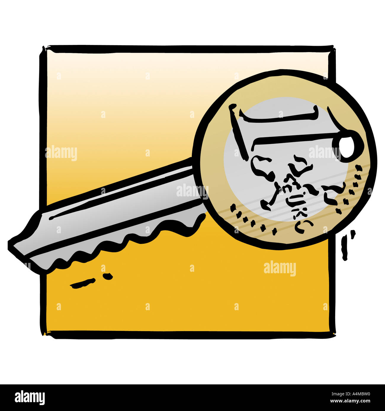 Schlüssel der Euro-Münze Stockbild