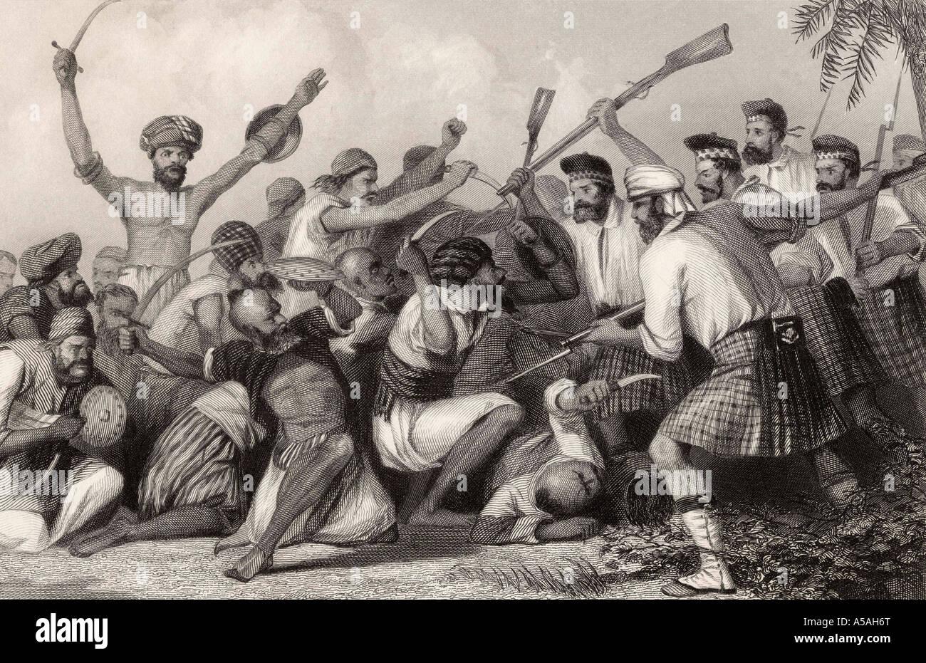 Konflikt mit der Ghazees bevor Bareilly 6. Mai 1858 aus der Geschichte der indischen Meuterei 1858 veröffentlicht Stockbild