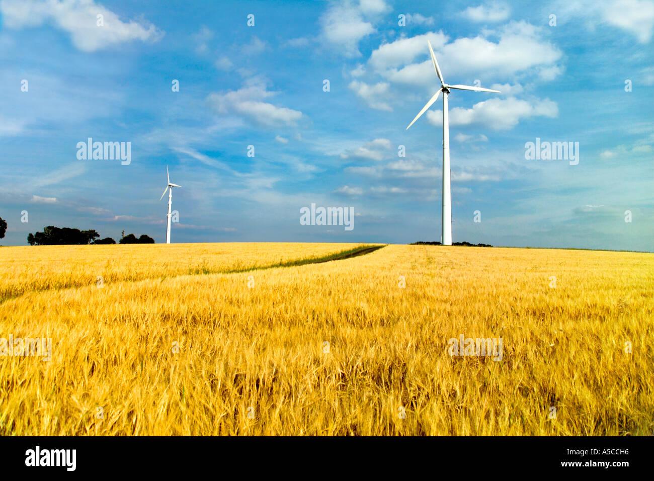 Windkraftanlagen im Bereich Stockbild