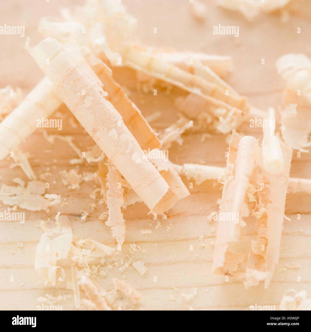 Nahaufnahme von Holzspänen Stockbild