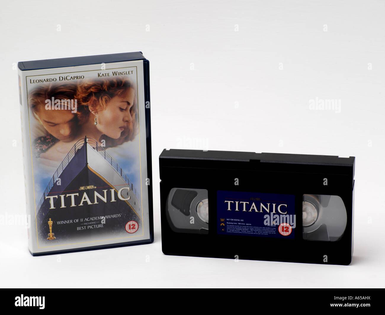 Titanic - Videokassette & Box Stockbild