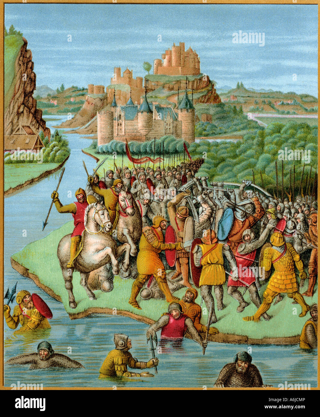 Jonathan Baccide aus einer französischen Übersetzung von Josephus Geschichte der Juden 1400 kämpfen Stockbild