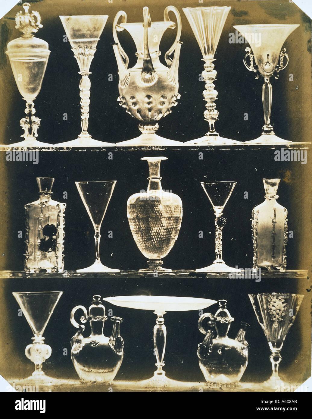 Venezianische Vasen und Gläser. Foto von Ludwig Belitski. Venedig, Italien, 1855. Stockbild