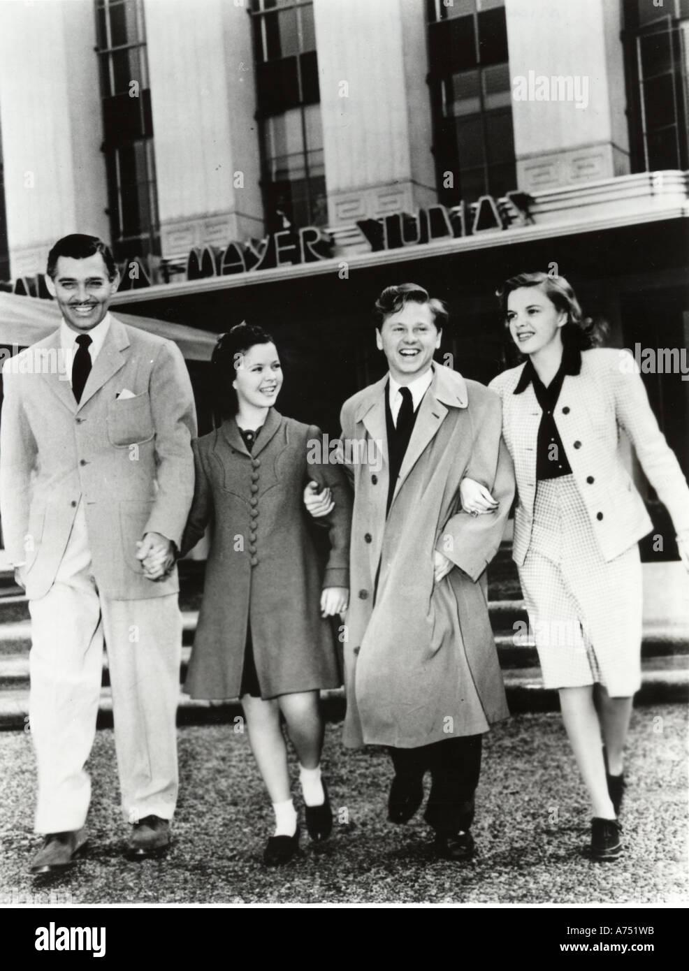 MGM Starsof 30 s/40 s von linken Clark Gable Shirley Temple Mickey Rooney Judy Garland Stockbild