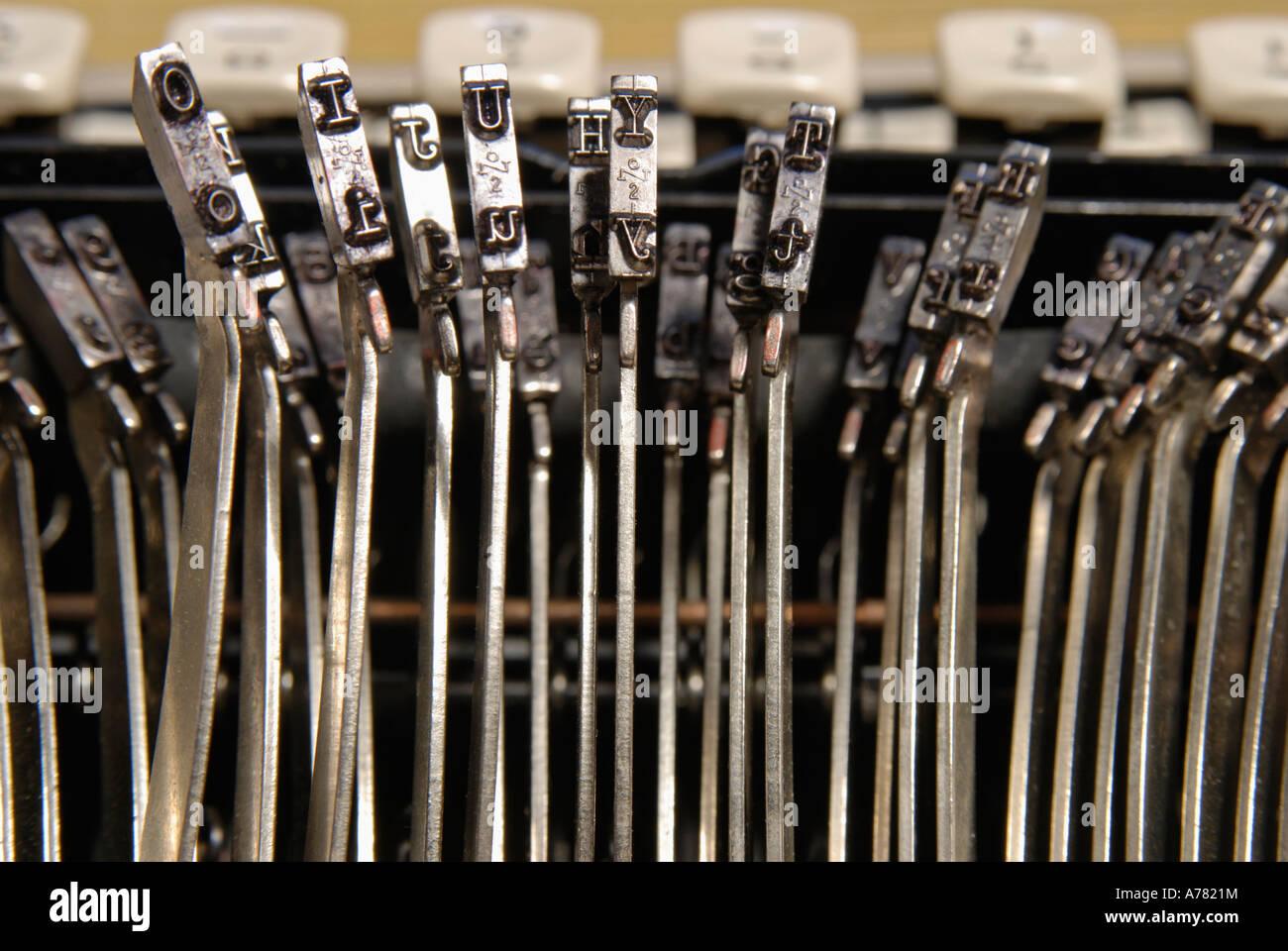 Nahaufnahme von Schreibmaschine Briefe Stockbild