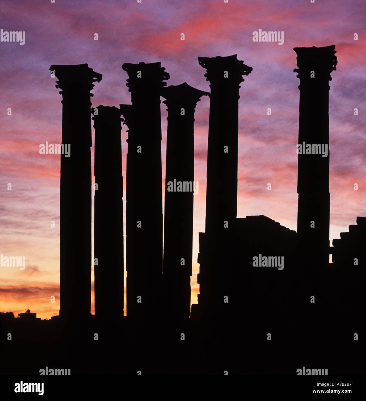 Tempel der Artemis Land Jerash Jordanien bei Sonnenuntergang Stockbild