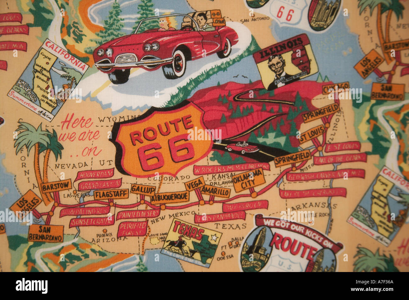 stoff karte von route 66 route 66 museum clinton oklahoma stockfoto bild 521066 alamy. Black Bedroom Furniture Sets. Home Design Ideas