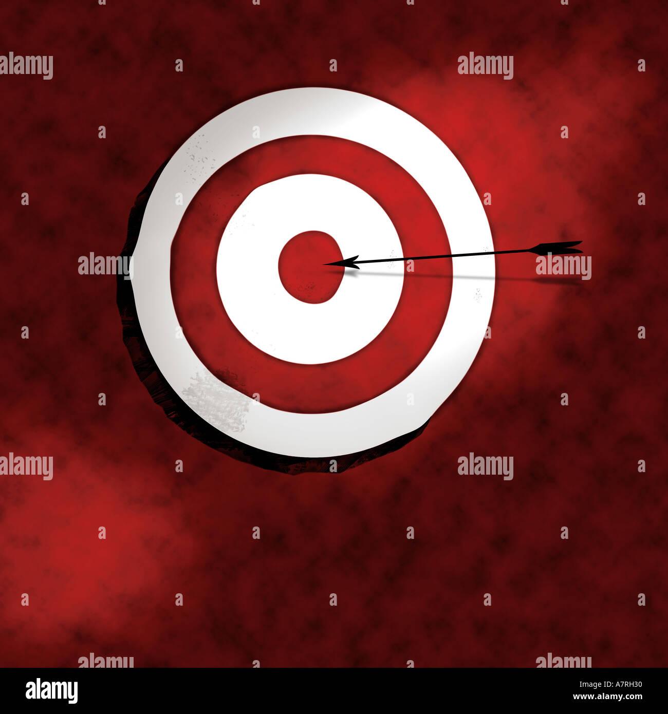 Bullseye mit Pfeil-Darstellung Stockbild