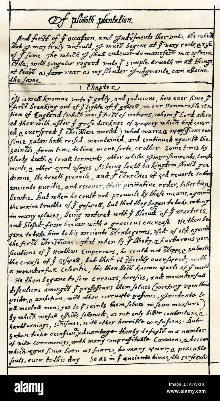 Ersten Manuskriptseite von Gouverneur William Bradford Geschichte der Plimoth Plantation Anfang 1600 Stockbild
