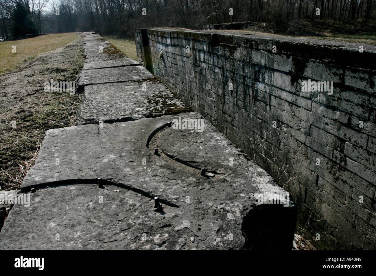 Lockington Schlösser Miami-Erie-Kanal verriegeln Ohio Transport Geschichte Reisen historische See Eire Great Stockbild