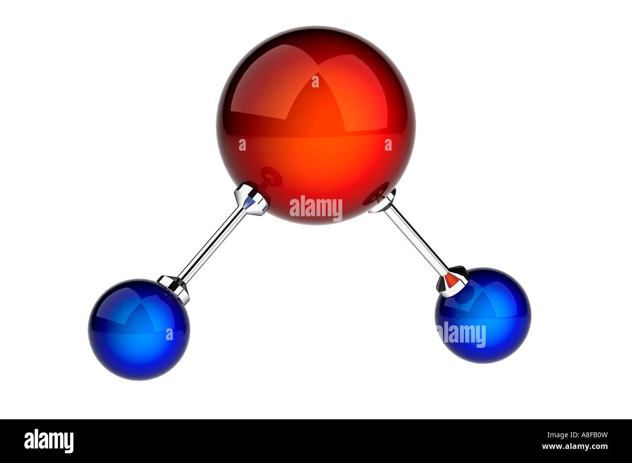 Cabondioxide oder Wasser oder H2O und CO2-Molekül-Modell Stockbild