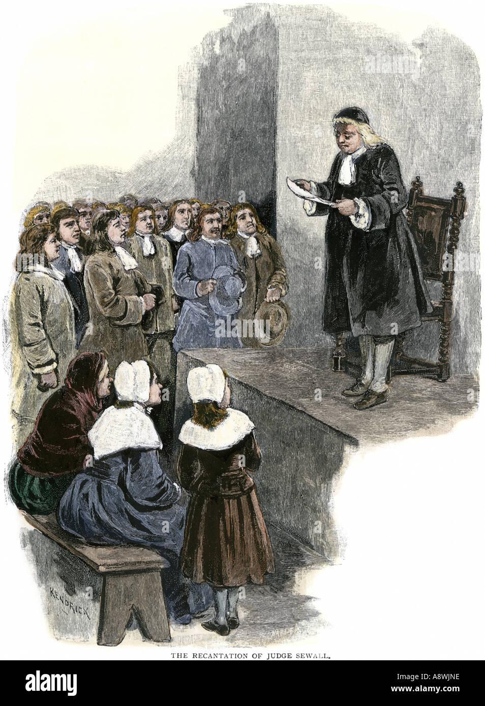 Widerruf der Richter Samuel Sewall nach Hexenprozesse von Salem in Massachusetts Bay Colony 1690ern Stockbild