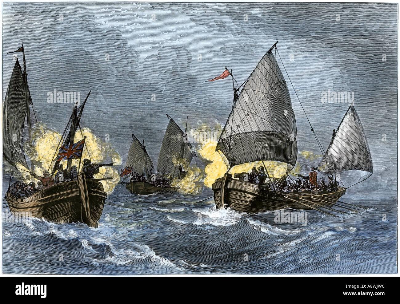 Schlacht von Burnsides Sound zwischen Clayborne und Calvert der erste Marine Konflikt auf Chesapeakes Bay 1630er Stockbild