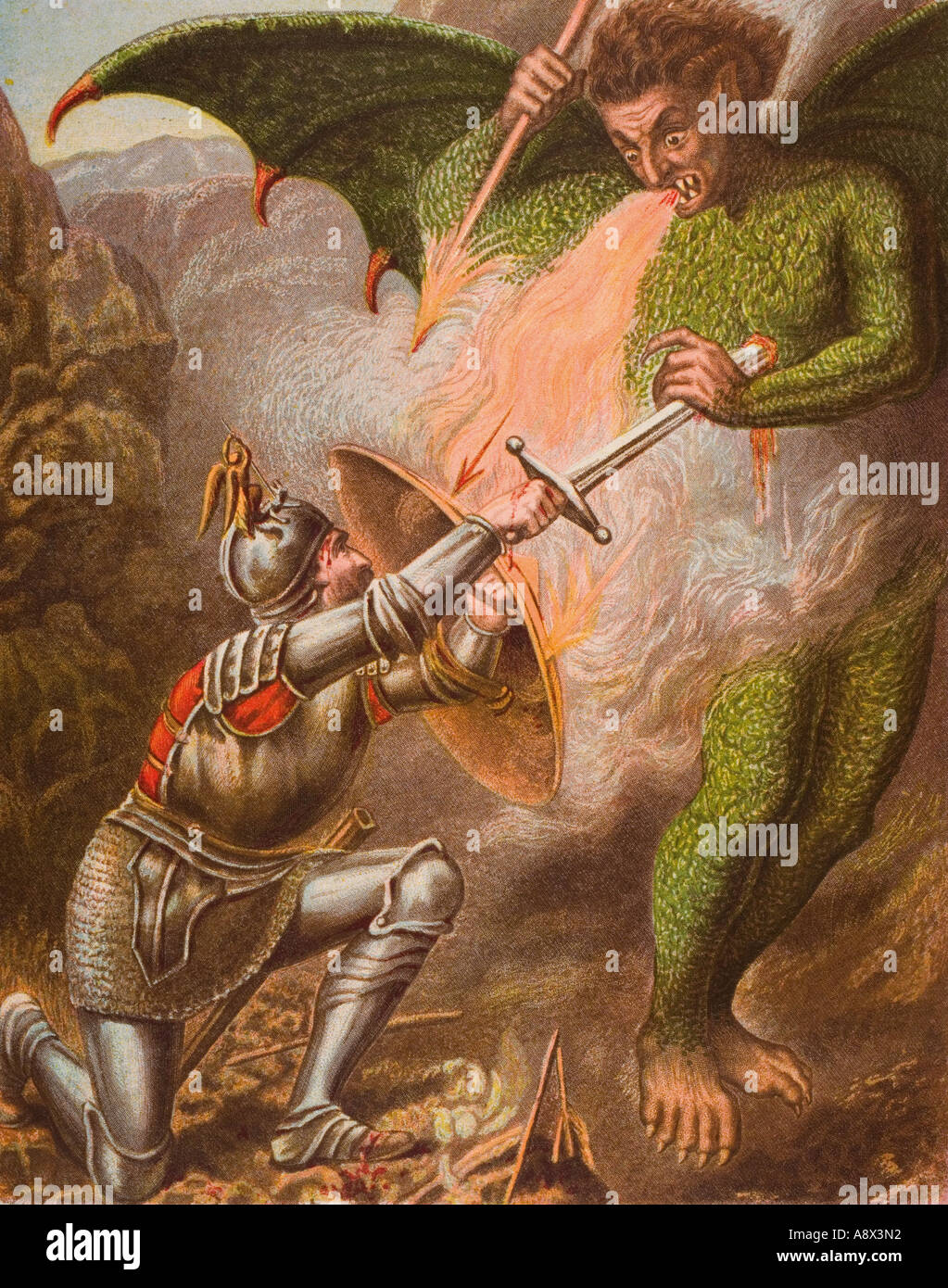 Christians Konflikt mit Apollyon, aus dem Buch The Pilgrim s Progress von John Bunyan, Ende des 19. Jahrhunderts Stockbild