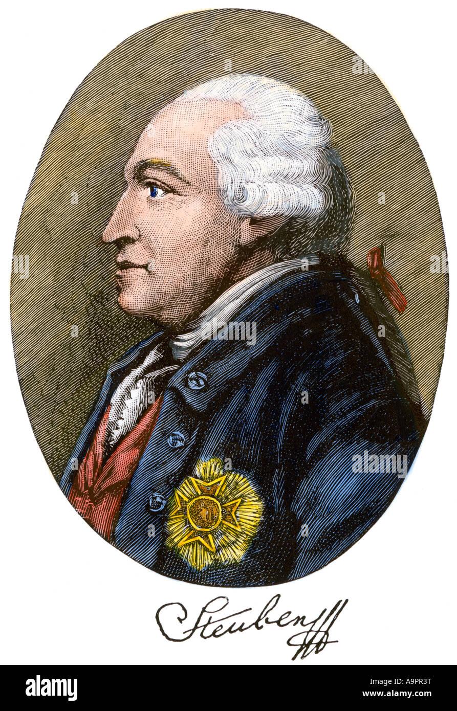 Friedrich Wilhelm von Steuben mit Autogramm Stockbild