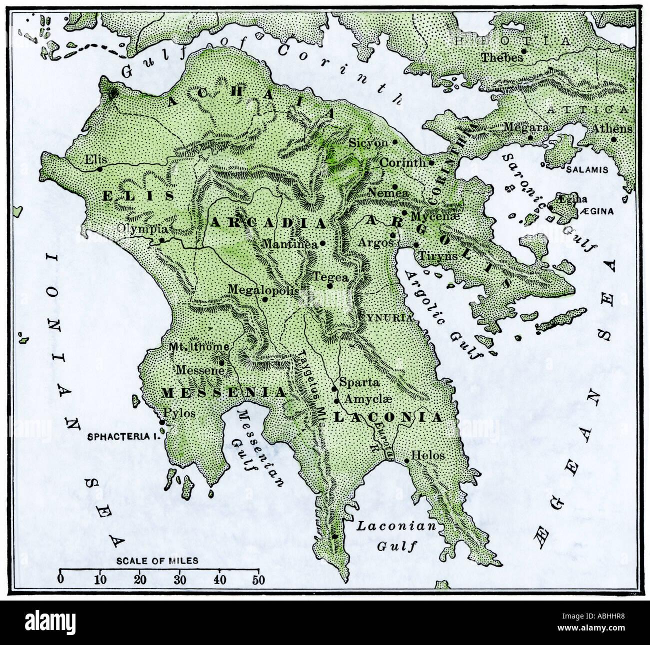 Karte des antiken Griechenland Peloponnes Stockbild