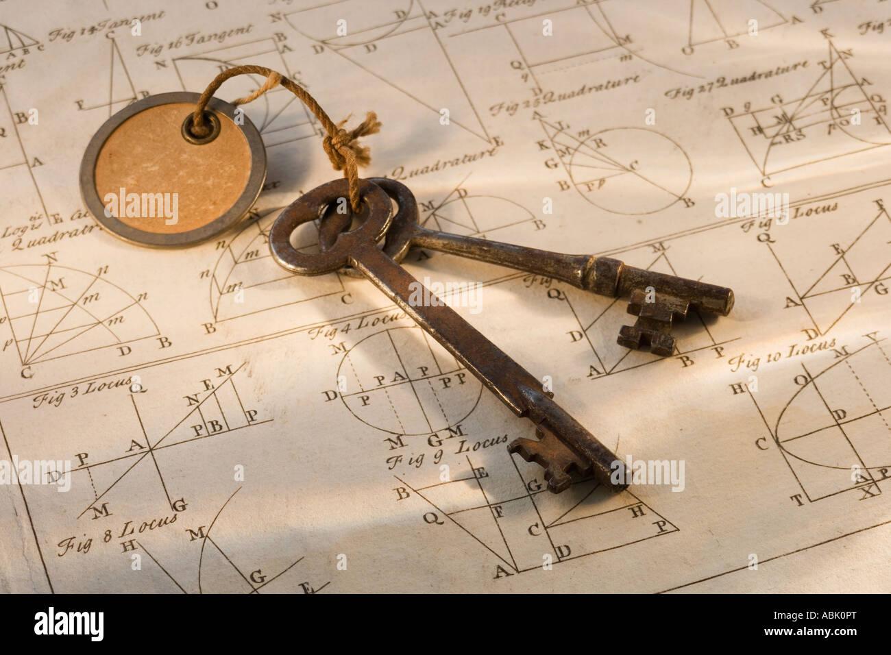 Altmodische Schlüssel auf Blatt der Geometrie Stockbild