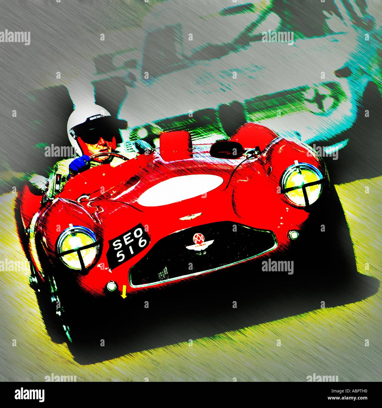 Aston Martin DB3S roten Sportwagen Konzept Bild. Stockbild