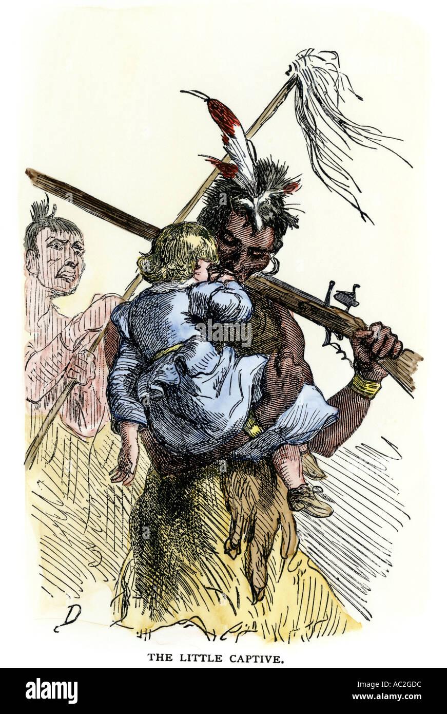 Weiße Kind mitreißen während Native American Konflikt mit Siedler Stockbild