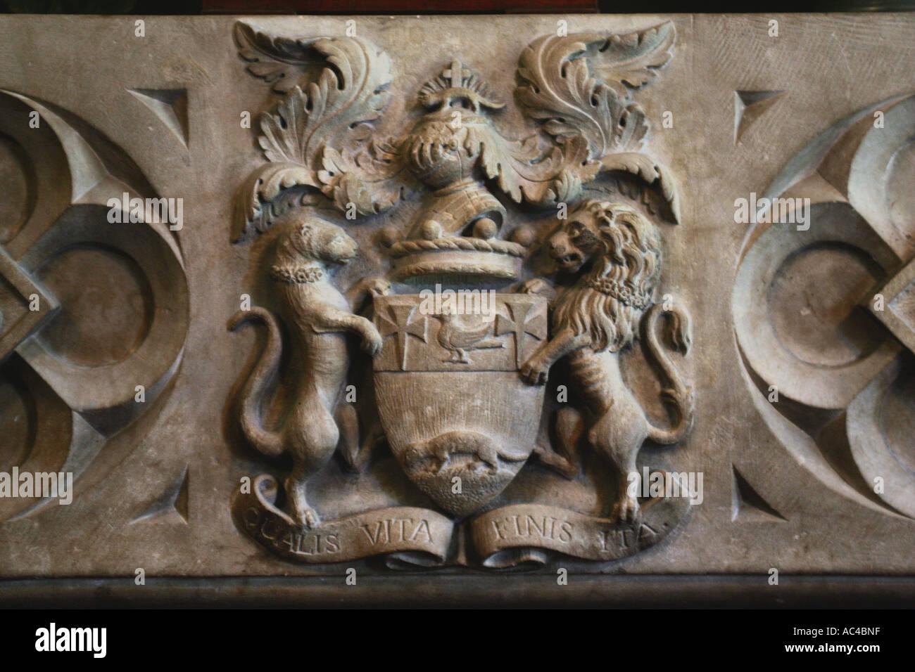 Das Familienwappen Coleridge an der Spielpfeife Haus, schon St Mary in Devon UK Stockbild