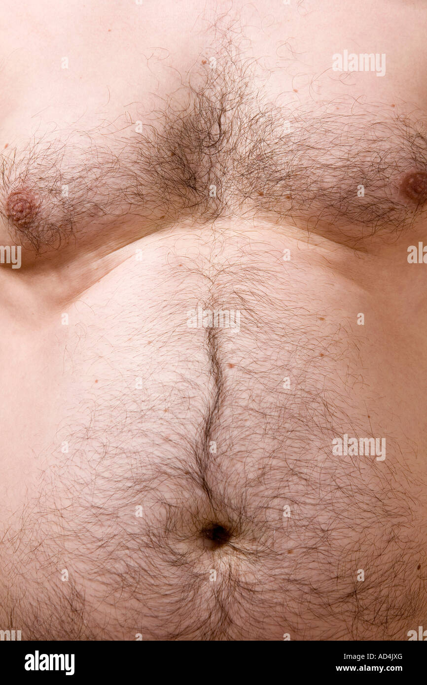 Mittelteil eines Mannes, ohne Hemd Stockbild