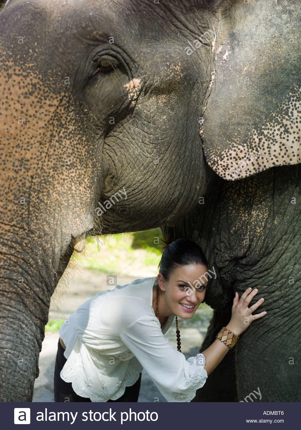 Frau unter den Elefantenkopf Stockbild