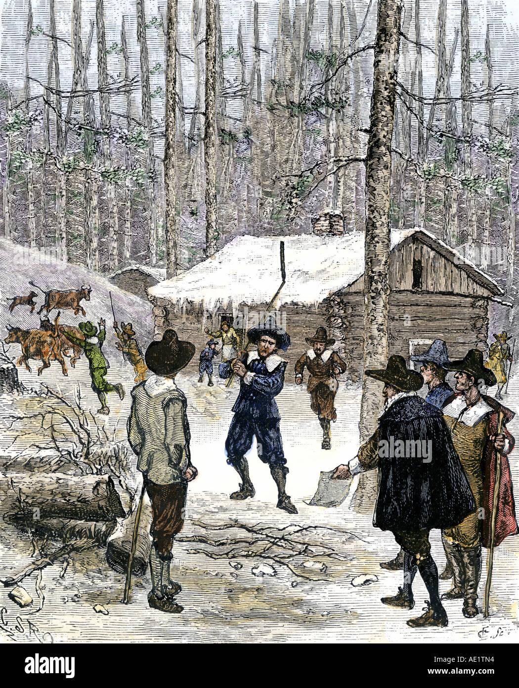 Rhode Island Kolonisten Konflikt Vieh auf Acquidneck jetzt Newport im Jahre 1641 Stockbild