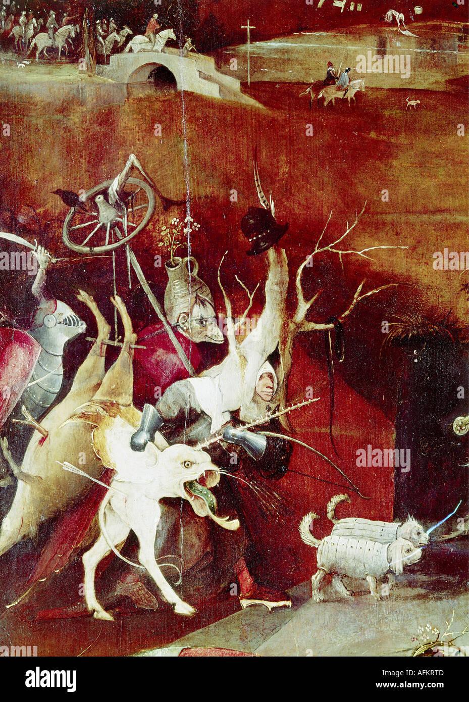 """""""Bildende Kunst, Bosch, Hieronymus (ca. 1450-1516), Malerei,""""die Versuchung des Heiligen Antonius"""", Mitteltafel, Stockfoto"""