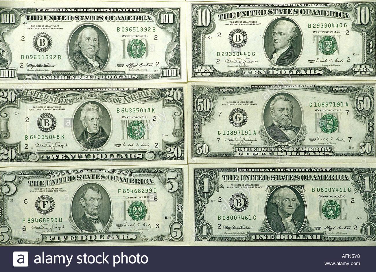 Geld / Finanzen, Banknoten, uns, 1, 5, 10, 20, 50, 100 Dollar, Porträt, Porträts, US-amerikanischer Politiker, Stockbild