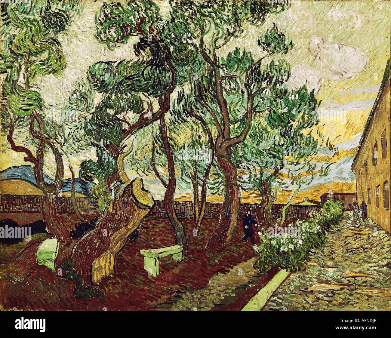 """""""Fine Arts, Gogh, Vincent van, (1853-1890), Malerei,""""le Jardin De La Maison des alines de Saint Remy"""", Stockbild"""