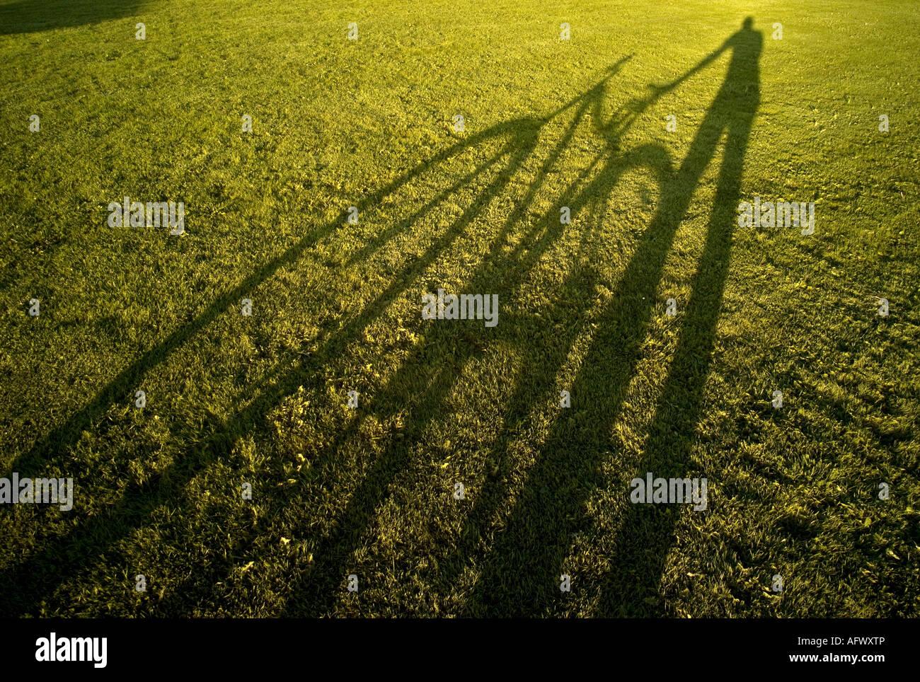 Schatten der Radfahrer und Fahrrad auf grünen Rasen Rasen zur Veranschaulichung Konzept der grünen Eco Stockbild