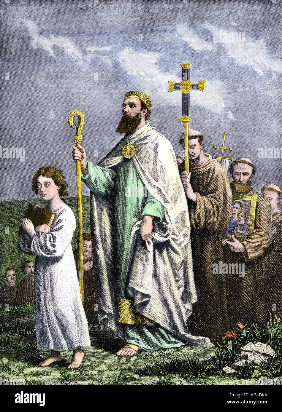 Saint Patrick Reise nach Tara, die Iren zum Christentum zu bekehren, im 5. Jahrhundert n. Chr. Stockbild