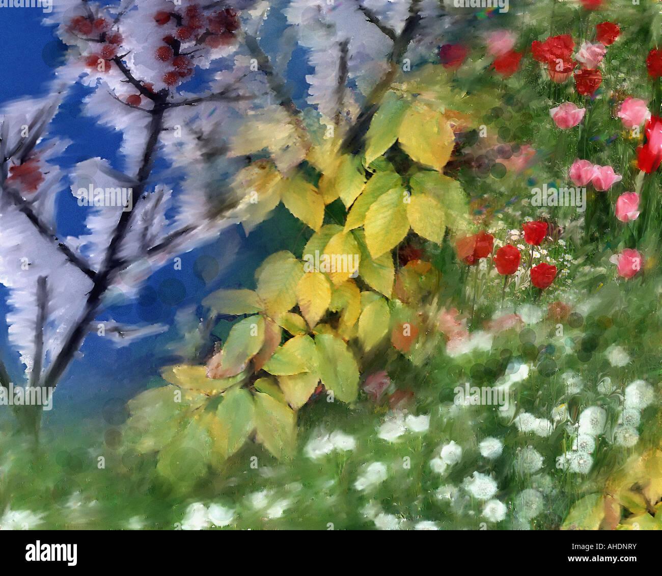 DIGITALE Kunst: Vier Jahreszeiten Stockbild